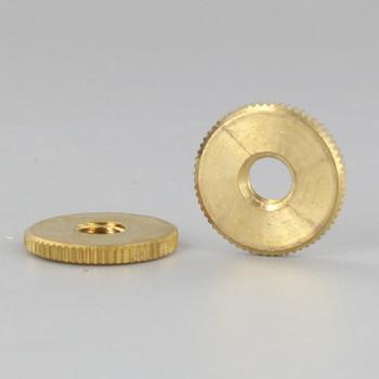 3/4in Diameter - 1/4-27 Threaded Knurled Flat Brass Nut