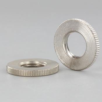 1in Diameter - 1/4ips Threaded Knurled Flat Brass Nut - Polished Nickel Finish