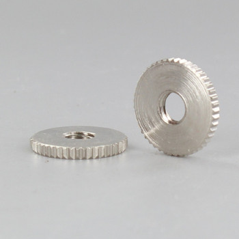 3/4in Diameter - 1/4-27 Threaded Knurled Flat Brass Nut - Polished Nickel