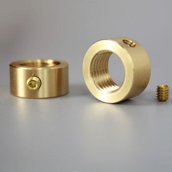 1/4-18 ips smooth locknut with set-screw unfinished brass