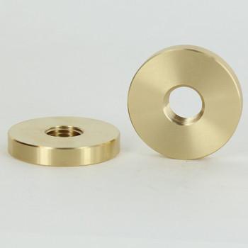1-1/2in Diameter - 1/4ips Threaded Plain Round Brass Nut.