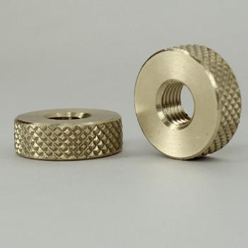 5/16-27 Threaded 3/4in Diameter x 1/4in Thick Diamond Knurled Round Brass Locknut - Unfinished Brass