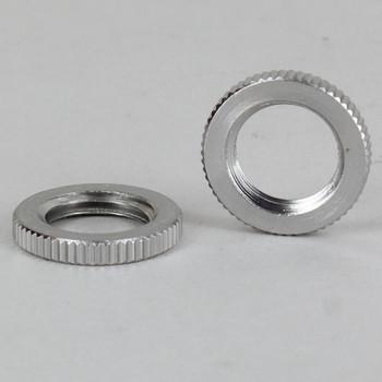 3/4in Diameter - 1/4ips Threaded Knurled Flat Brass Nut - Polished Nickel Finish
