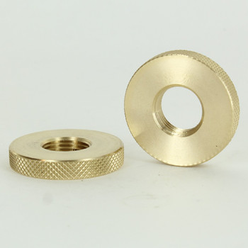 1-1/2in Diameter - 3/8ips Threaded Diamond Knurled Round Brass Nut