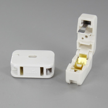 White - Add-A-Tap In Line Pass Through Click-On Female Non Polarized Outlet