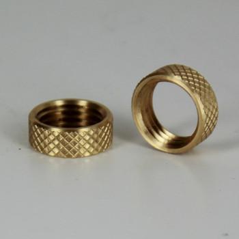 1/4ips - 5/8in X 15/64in Diamond Knurled Brass Round Nut