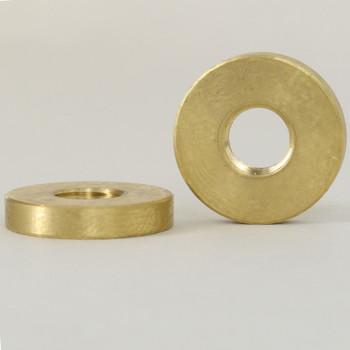 5/16-27 Threaded 3/4in Diameter X 1/8in thick Plain Brass Round LockNut - Unfinished Brass