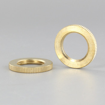 1in Diameter - 3/8ips Threaded Knurled Flat Brass Locknut