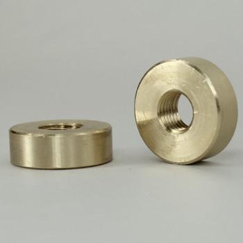 5/16-27 Threaded 3/4in Diameter x 1/4in Thick Plain Round Brass Locknut - Unfinished Brass