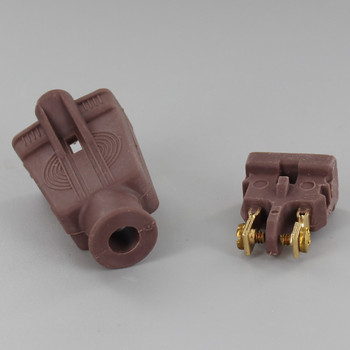 Brown - Rubber Polarized Outlet with Screw Terminal Wire Connection
