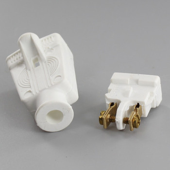 White - Rubber Polarized Outlet with Screw Terminal Wire Connection
