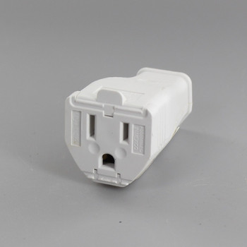 White - Polarized Grounded Clamp-Tight Connector Outlet with Screw Terminal Wire Connection