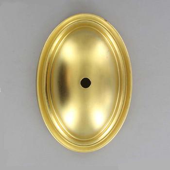 1/8ips Slip Center Hole Oval Stamped Backplate - Unfinished Brass