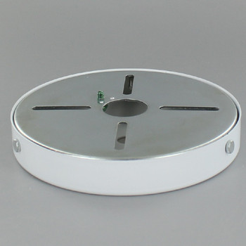 5in Screw Less Face Mount Steel Round Canopy - White Powdercoat Finish