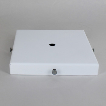 5in Screw Less Face Mount Steel Square Canopy - White Powdercoat Finish