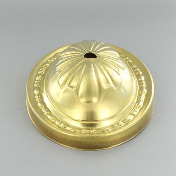 1/8ips Slip Center Hole Decorative Oval Stamped Backplate - Unf. Brass