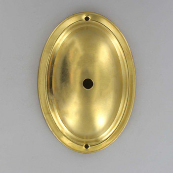 1/8ips Slip Center Hole and Bar Mount Oval Stamped Backplate - Unf Brass
