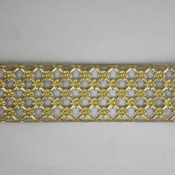 1-1/4in Brass Daisy Cross Hatch Banding - Sold in 10Ft Lengths