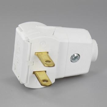 White - Leviton Non-Polarized Angle Lamp Plug with Screw Terminals