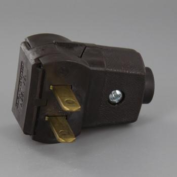 Brown Leviton Non-Polarized Angle Lamp Plug with Screw Terminals
