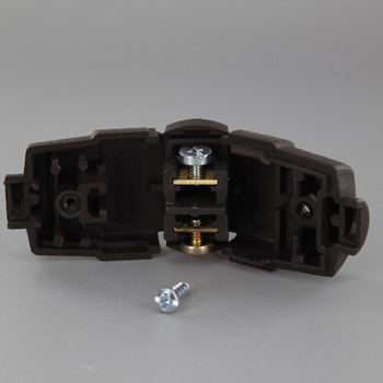 Brown - Leviton Polarized Lamp Plug with Screw Terminals