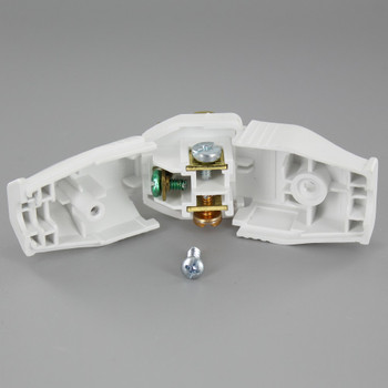 White - 2 Pole 3-Wire Grounding Screw Terminal Connection Plug