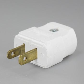 White Leviton Polarized Lamp Plug with Screw Terminals