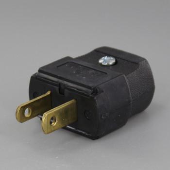 Black - Leviton Polarized Lamp Plug with Screw Terminals