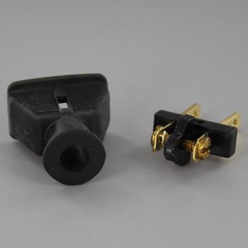 Black - Rubber Non-Polarized Lamp Plug with Screw Terminals