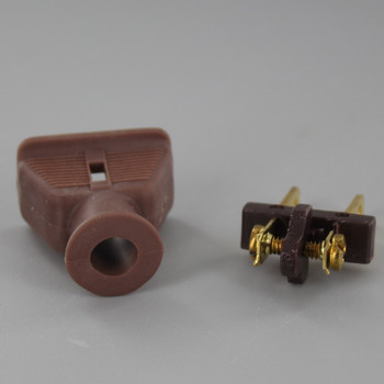 Brown - Rubber Non-Polarized Lamp Plug with Screw Terminals
