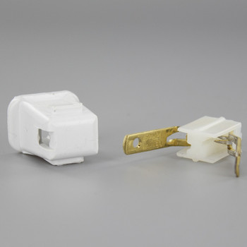 White - Leviton - Polarized, Non-Grounding, Quick & Easy Lamp Plug for 18-2 SPT-1 Wire