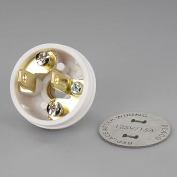 White - Button Style, Non-Polarized, Non-Grounding, 2-prong Plug With Screw Terminals