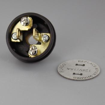 Brown - Button Style, Non-Polarized, Non-Grounding, 2-prong Plug With Screw Terminals