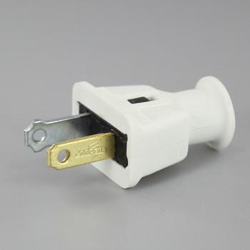 White - Polarized Non-Grounding Rubber Straight Blade Plug