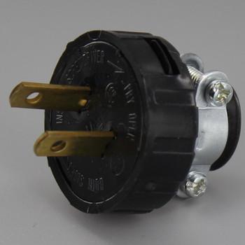 Black - Non-Polarized, Non-Grounding, Round Plug with Cord Clamp