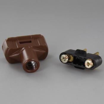 Brown - Nylon, Non-Polarized Non-Grounding Lamp Plug with Screw Terminals