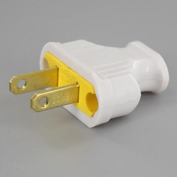2 Wire, Non-Polarized, Non-Grounding, Phenolic Lamp Plug - White