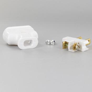 White - 2-Prong, Non-Polarized, Non-Grounding Phenolic Lamp Plug with Screw Terminals