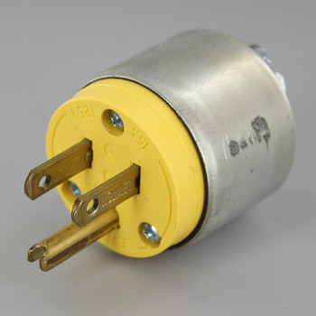 Metal - Grounded Leviton Plug with Screw Terminal Connection and Metal Clamp On Strain Relief