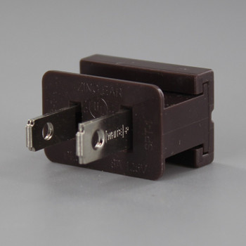 Brown - Polarized, Non-Grounding, Male Gilbert / Slide Together Plug for use with 18/2 SPT-1 Wire
