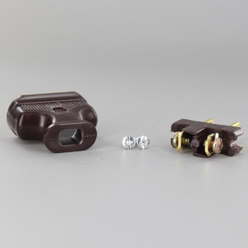 Brown - 2-Prong, Non-Polarized, Non-Grounding, Phenolic Lamp Plug with Screw Terminals