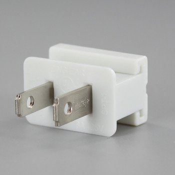 White - Polarized, Non-Grounding, Male Gilbert / Slide Together Plug for use with 18/2 SPT-1 Wire