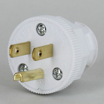 White - Antique Style Decorative Grounded Plug with Screw Terminal Wire Connections