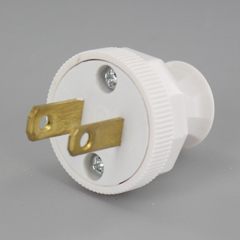 White - Grand Brass Design - Antique Reproduction Polarized Lamp Plug with Screw Terminal Connection