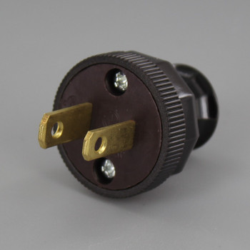 Brown - Grand Brass Design - Antique Reproduction Polarized Lamp Plug with Screw Terminal Connection
