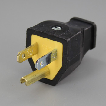 Black - 3-Wire Grounded, Impact Resistant, Standard, Thermoplastic Straight Blade Plug