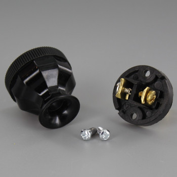 Black - Grand Brass Design - Antique Reproduction Polarized Lamp Plug with Screw Terminal Connection