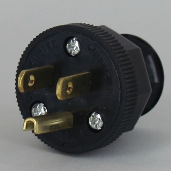 Black - Antique Style Decorative Grounded Plug with Screw Terminal Wire Connections