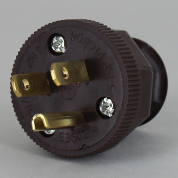 Brown - Antique Style Decorative Grounded Plug with Screw Terminal Wire Connections