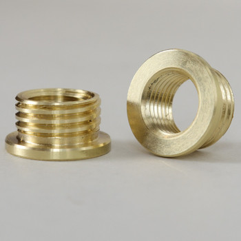M10X1.0 Female X 1/4 Male Reducer with Shoulder - Unfinished Brass